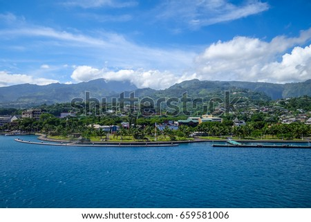 Papeete city view from the sea, Tahiti, french Polynesia
