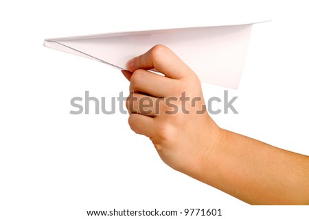 paper aircraft is launched from hand - stock photo