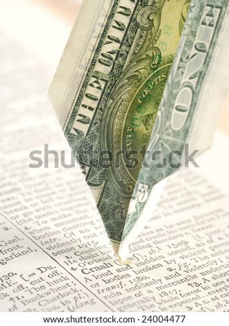 paper airplane dollar bill crashing into the word Crash