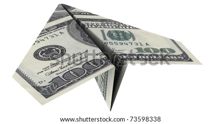 paper airplane from the dollars on a white background - stock photo