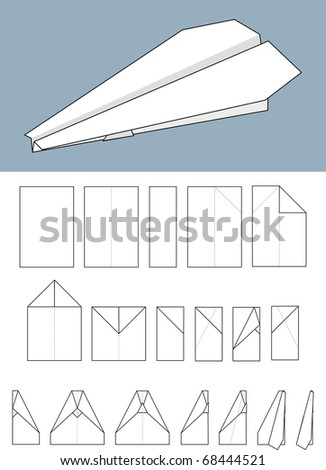 Paper airplane. The scheme of manufacturing paper layout - origami, illustration. - stock photo