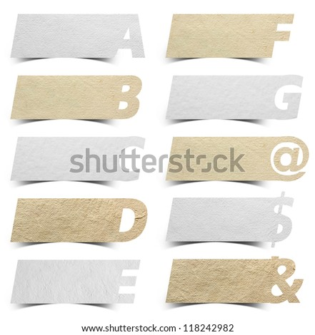 Paper alphabet banners presentations background / product choice or versions, isolated on white background, Objects with Clipping Paths for design work