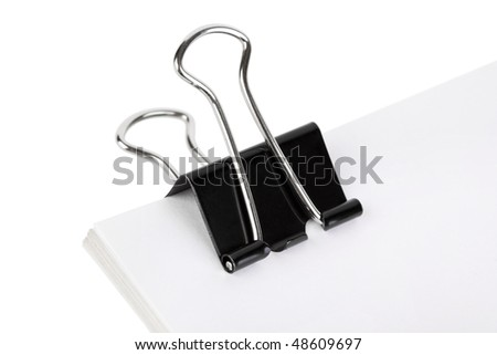 Paper and clip isolated on white background - stock photo