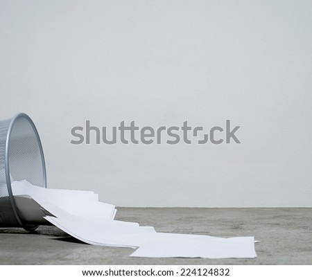 paper and garbage bin - stock photo
