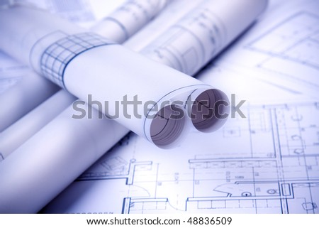 Paper architecture project tube - stock photo