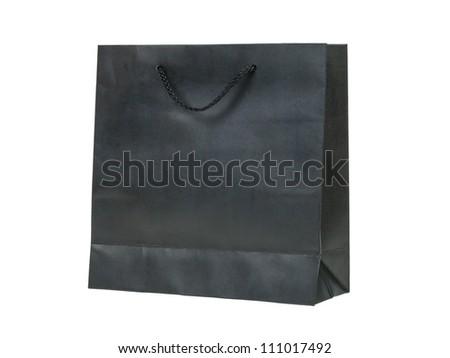 paper bag, black color - stock photo