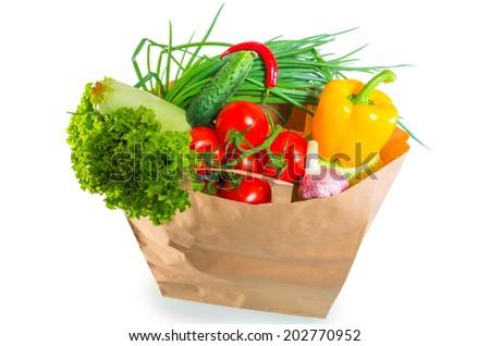 paper bag brim full of healthy dietary food - stock photo