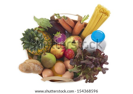 """Paper bag filled with food """"health"""" - stock photo"""