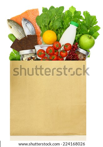 Paper bag filled with groceries - stock photo