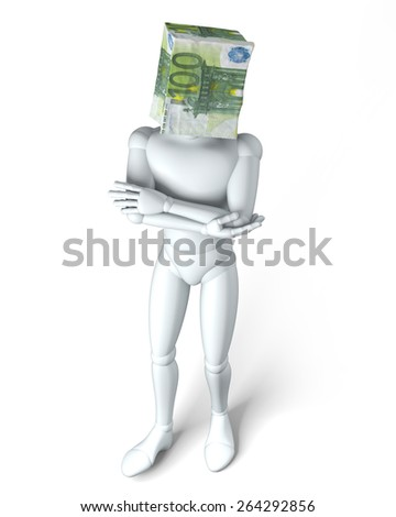 Paper bag head euro - Euro bag over figurine head, rendering, isolated on white background - stock photo