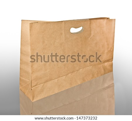 Paper bag isolated on reflect background