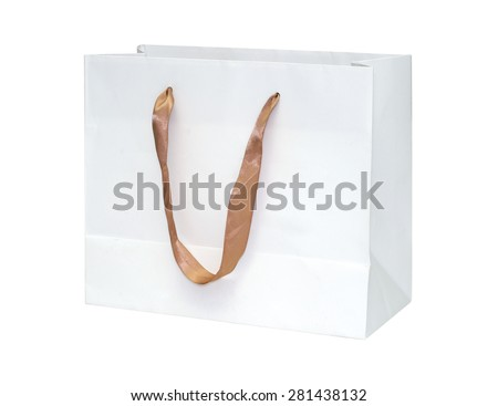 paper bag isolated on white background. clipping path. - stock photo
