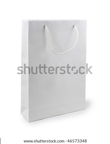 Paper bag on a white background. Isolated path included. - stock photo