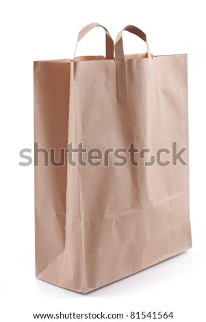 paper bag, over white - stock photo