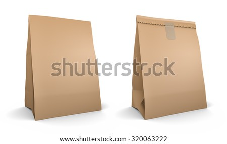 Paper bag set, isolated on white background
