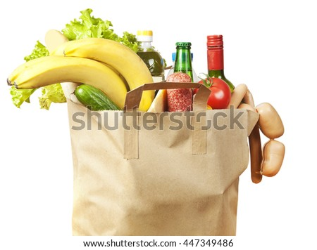 Paper bag with food and drinks inside  - stock photo
