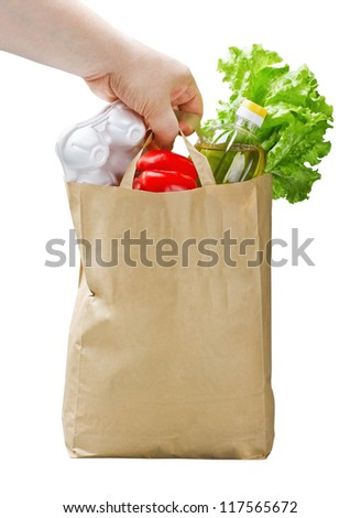 paper bag with food in hand isolated on white background - stock photo