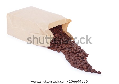 Paper bag with grain coffee on white background. All in focus - stock photo
