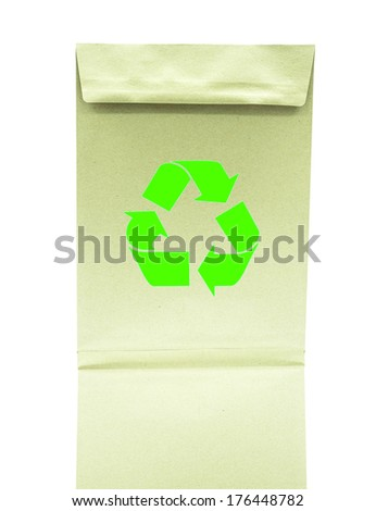 Paper bag with recycle symbol on white background