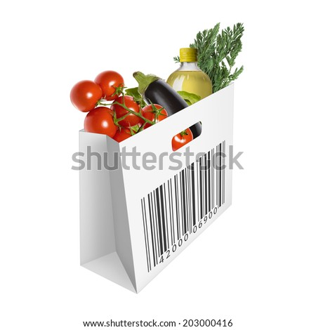 paper bag with vegetables as a symbol of household expenditure isolated on white background - stock photo