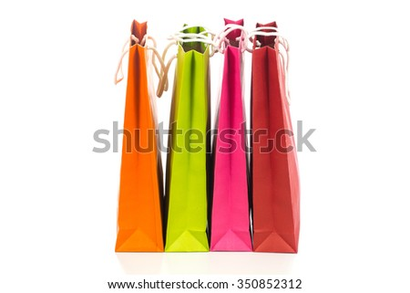 Paper bags of various colors.