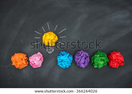 Paper Ball on Blackboard and lightbulb shape, Idea Concept - stock photo