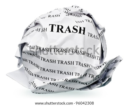 "paper ball with text "" trash "" and clipping path on a white background"