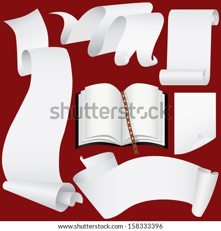 Paper banners, scrolls and book set  - stock photo