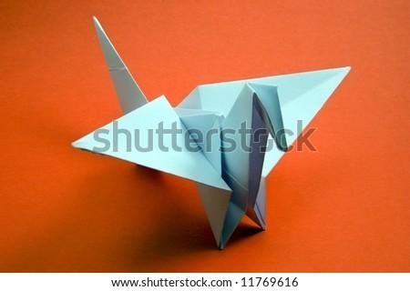 paper bird (origami) - stock photo