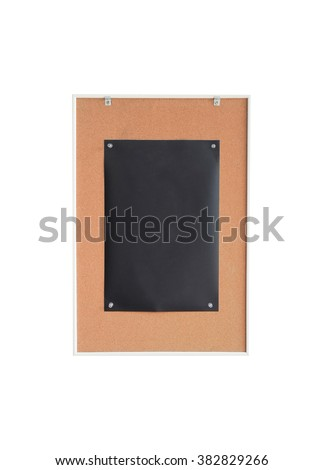 Paper black on wood sign board.center - stock photo