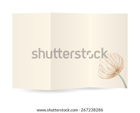 Paper blank brochure template with poppy on gray background and space for text. Raster version. - stock photo