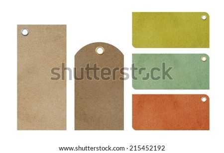 Paper Blank Price Tags Isolated. Five Blank Colorful Tags To Choose From. - stock photo