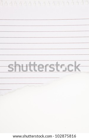 Paper blank tearing against a white background