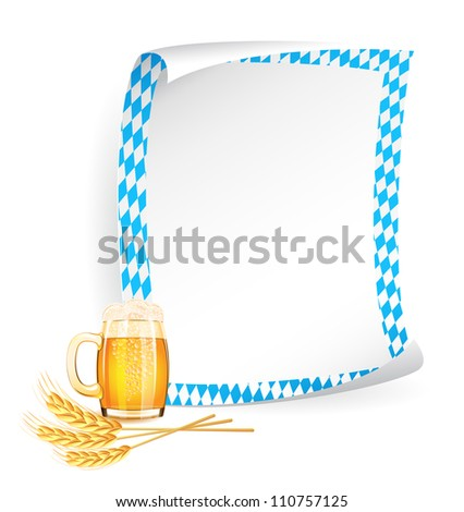 Paper board in bavarian colors with beer mug and wheat ears