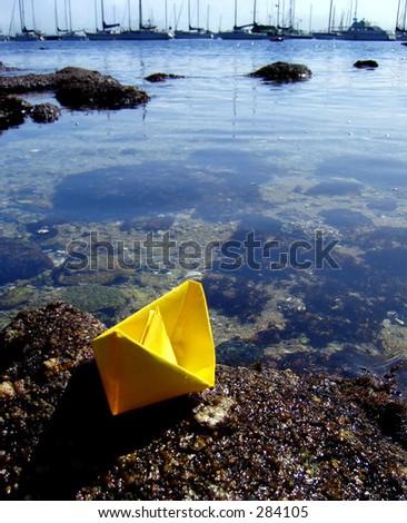 paper boat - stock photo