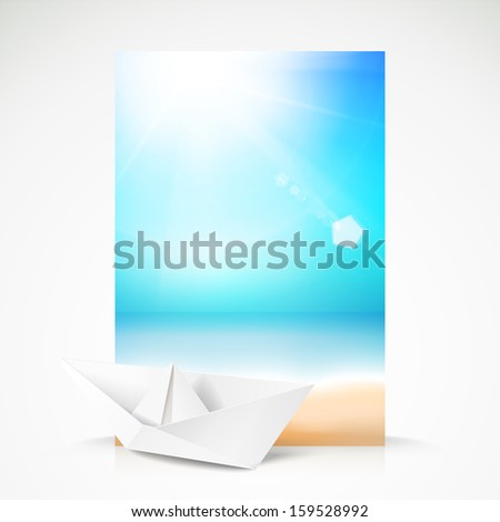Paper boat, beach, palm on an paradise place.  illustration. - stock photo