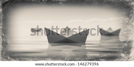 Paper boat - grunge - stock photo