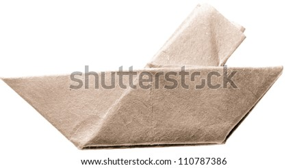 paper boat isolated on white - stock photo