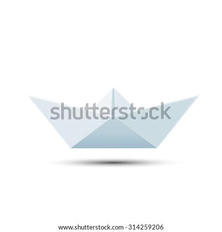 Paper boat isolated on white background. Stock image. - stock photo
