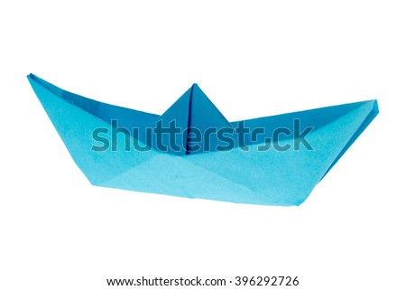 Paper Boat isolated over a white background / Paper Boat - stock photo