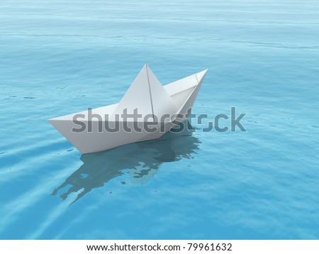 Paper boat on a blue sea. 3d illustration. - stock photo