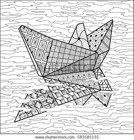 Paper Boat On Water Coloring Book Stock Illustration 583585135 ...