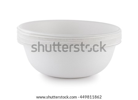 paper bowl on white background - stock photo