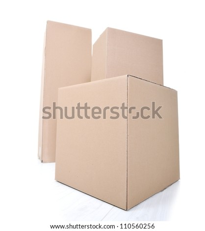 Paper box for packaging isolated - stock photo