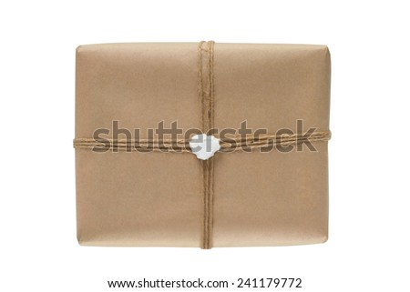Paper box tied with a rope, isolated on white background - stock photo