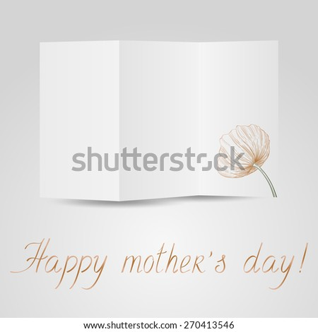 Paper brochure congratulation mother's day. Raster version. - stock photo