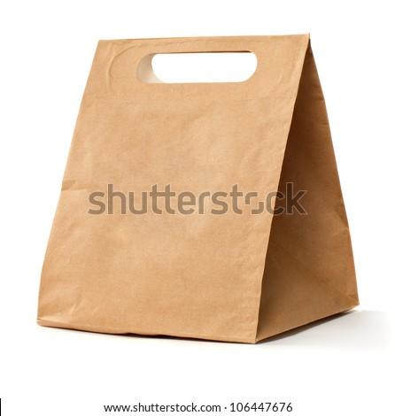 Paper brown bag - stock photo