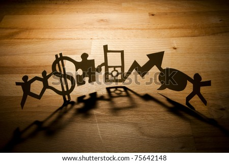 Paper Business Chain. A paperchain of various elements. - stock photo