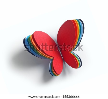paper butterfly isolated on white  (made of few layers)