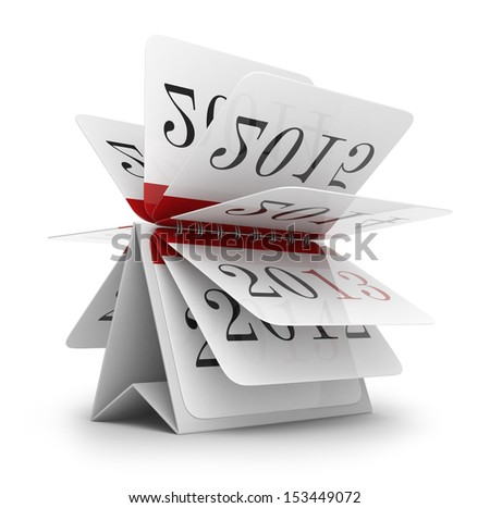 Paper calendar. 3D Icon isolated on white background - stock photo